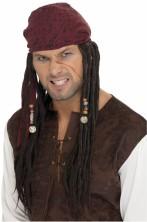 Parrucca pirata rasta con dreadlocks con bandana Jack Sparrow