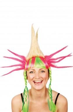 Parrucca donna corta colorata bambola pazza o clown