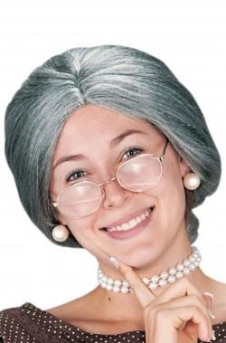 Parrucca Donna Corta grigia anziana vecchia strega befana