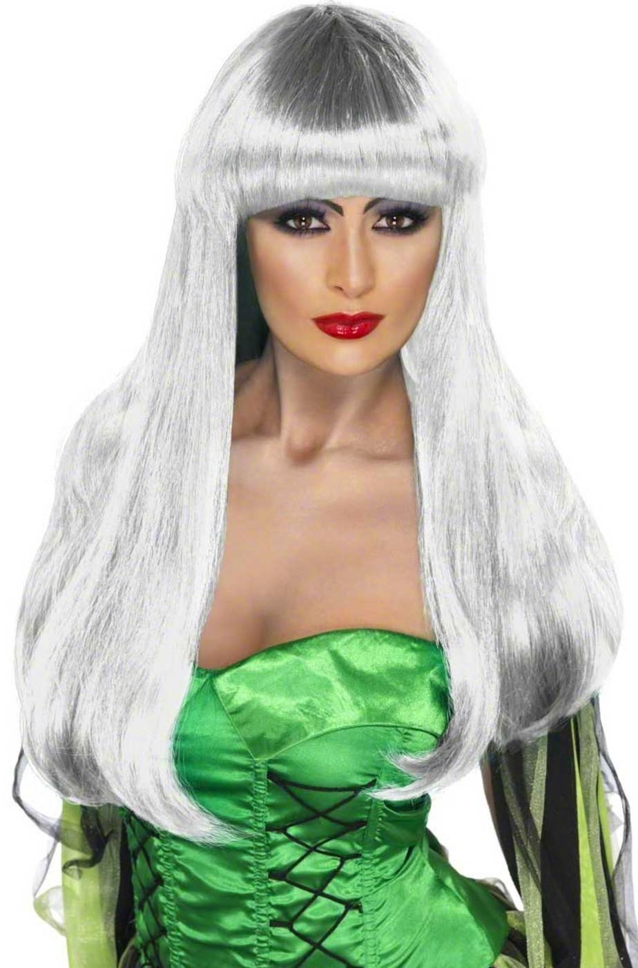 Parrucca donna grigia argento lunga mossa con Frangia
