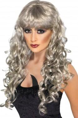 Parrucca donna grigia lunga con frangia mossa
