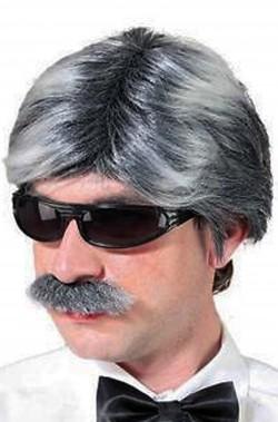 Parrucca e baffo grigio