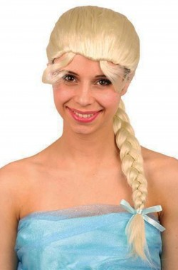 Parrucca donna bionda liscia con frangia