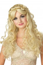 Parrucca bionda lunga mossa senza frangia