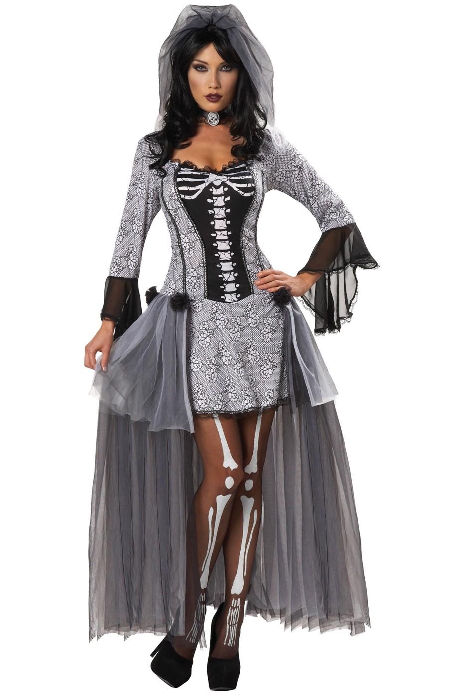 Costume Halloween donna sposa cadavere scheletro sexy 73f1b01bfebf