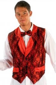 Gilet rosso con ragnatela in trasparenza e cravattino papillon