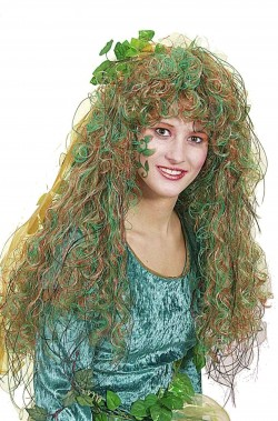 Parrucca donna verde lunga mossa Poison Ivy elfa o mostro della laguna