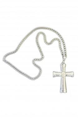 Collana con croce color argento decorata per papa, vescovo, preti