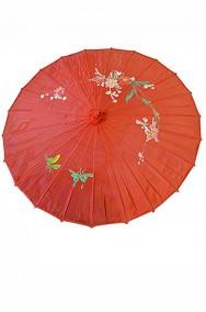 Ombrello parasole cinese o giapponese geisha circa 82 cm rosso