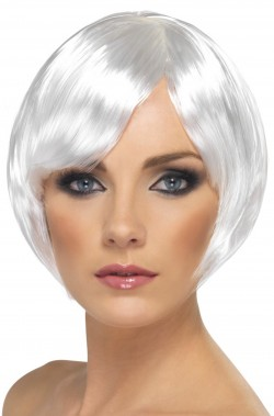 Parrucca donna bianca corta a caschetto
