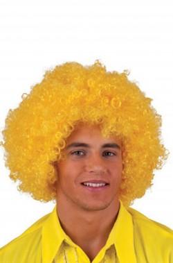 Parrucca afro clown anni 70 riccia gialla
