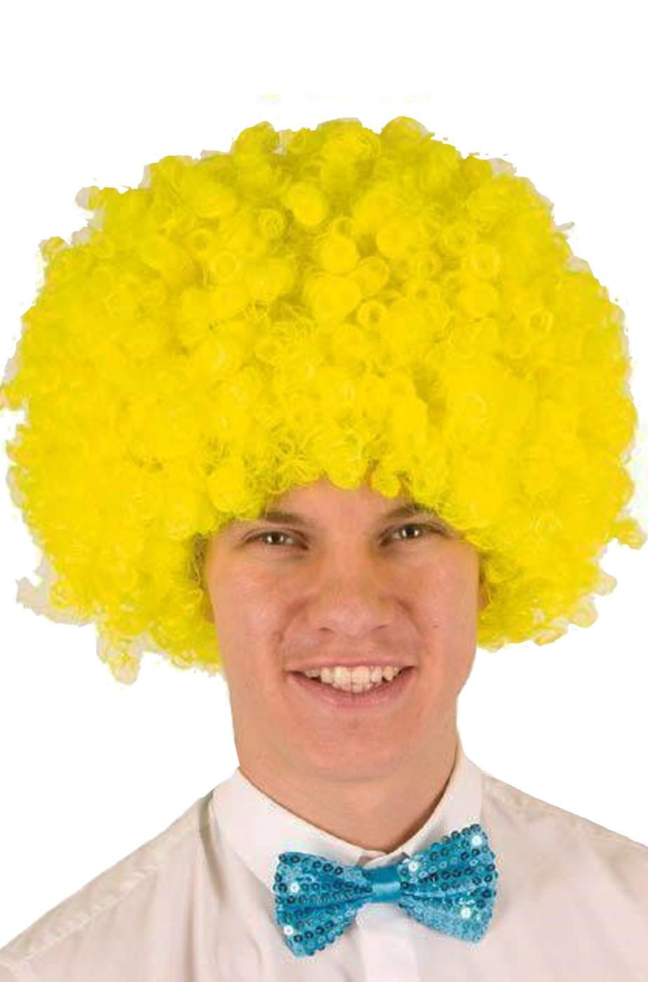 Parrucca afro riccia anni 70 gialla