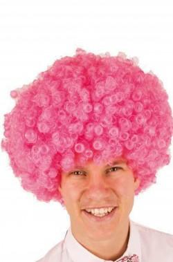 Parrucca afro rosa riccia corta anni 70 grande