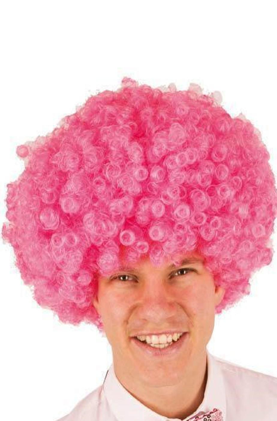 Parrucca afro rosa riccia anni 70