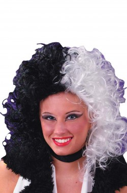 Parrucca donna bianca e nera Crudelia De Mon