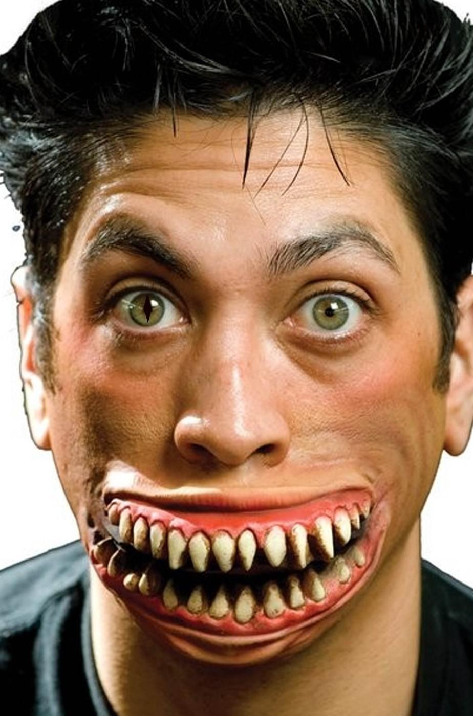 Protesi trucco sorriso stregatto in lattice per adulti