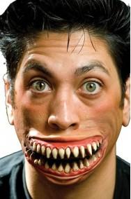 Protesi trucco Halloween sorriso di Stregatto in lattice per adulti