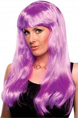 Parrucca donna viola lunga liscia con frangia