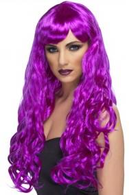 Parrucca donna viola lunga mossa