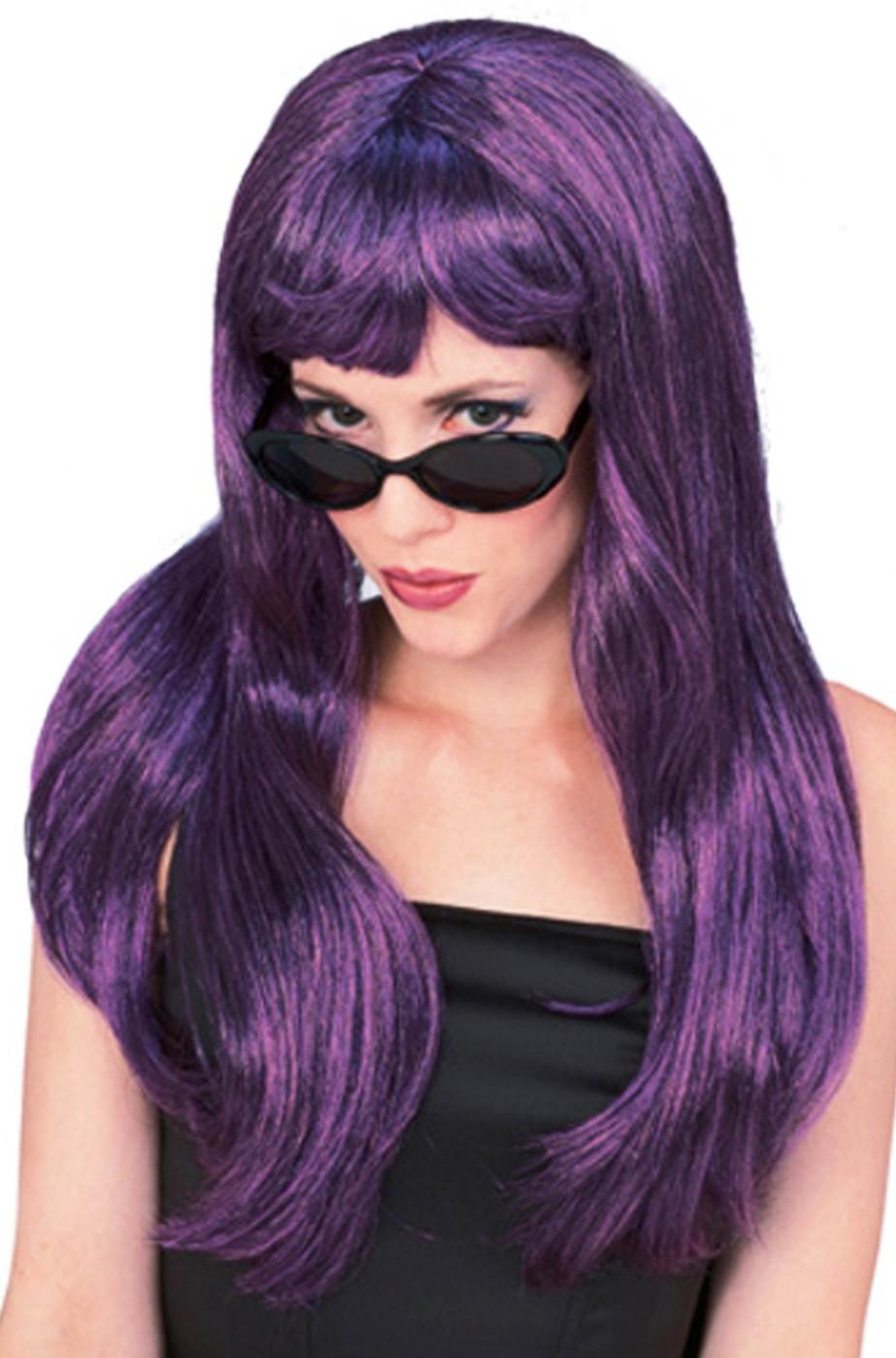 Parrucca donna viola/nera lunga liscia con frangia