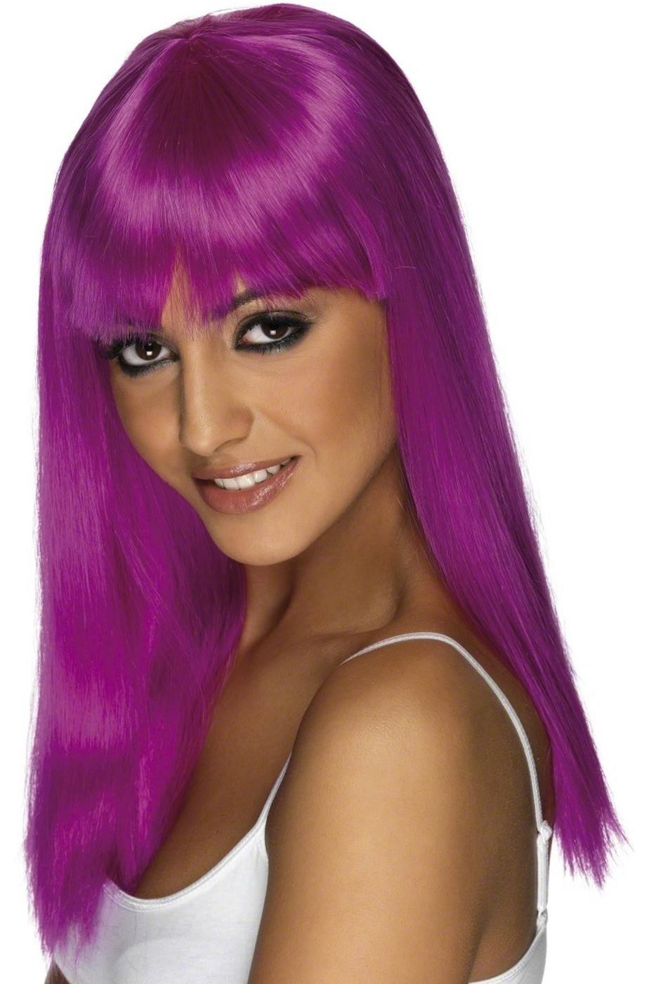 Parrucca donna lunga viola