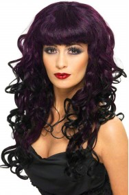 Parrucca donna lunga prugna mossa