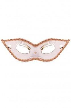 maschera stile veneziano bianca con ciglia applicate e punte