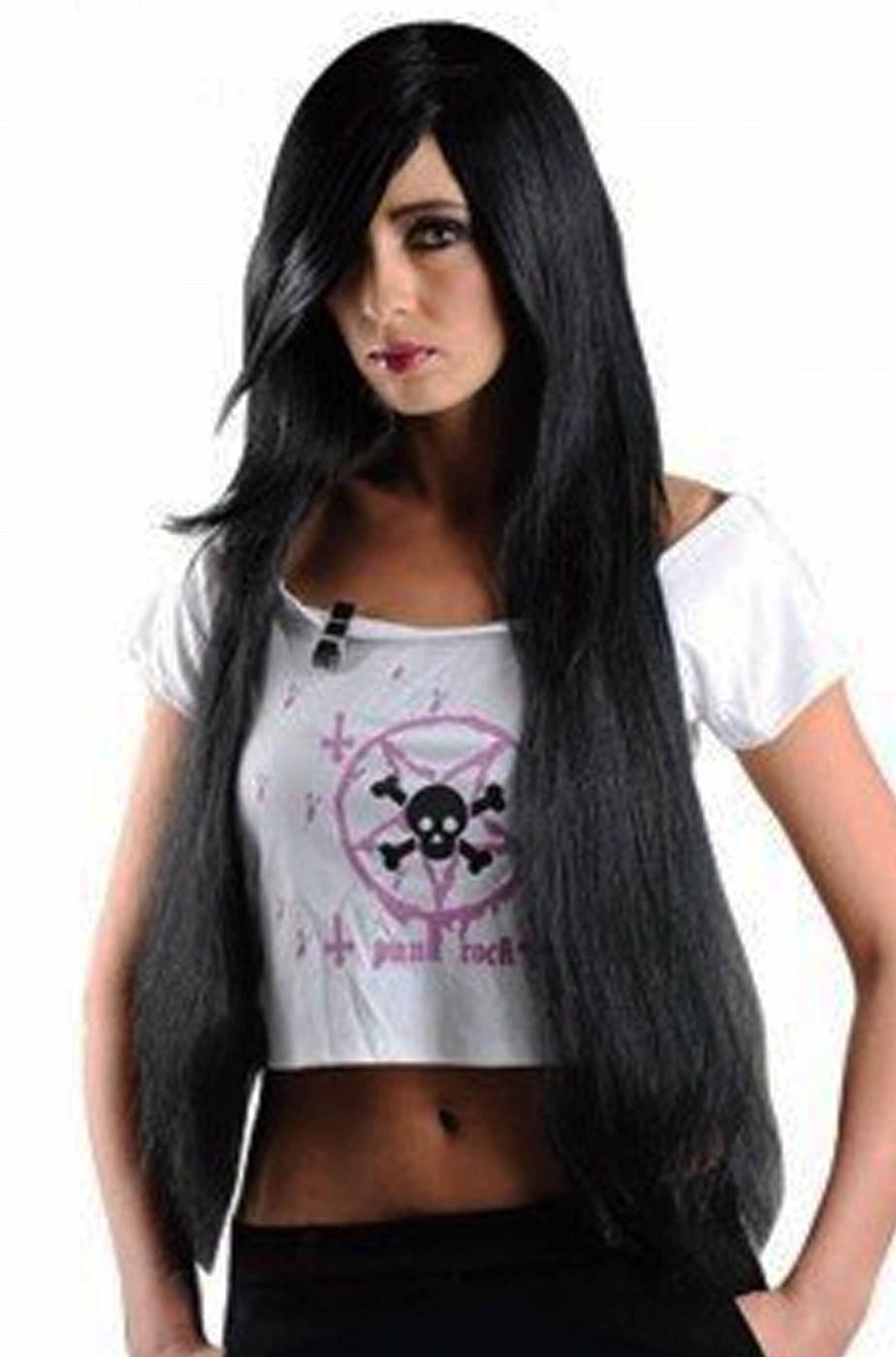 Parrucca donna lunga lolita giapponese frangia Manga anime nera