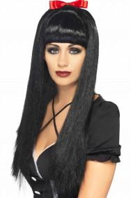 Parrucca donna lunga nera liscia biancaneve