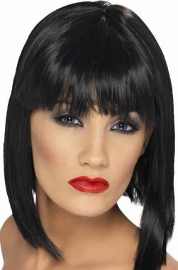 Parrucca donna media nera liscia con frangia