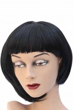 Parrucca donna nera corta a caschetto taglio asimmetrico