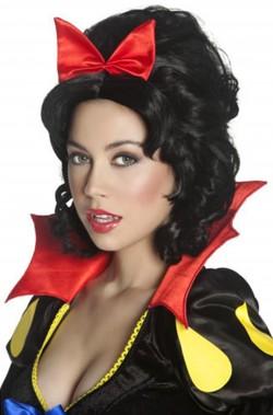 Parrucca donna nera corta con fiocco rosso