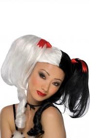 Parrucca donna nera e bianca lunga con codini