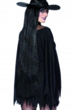 Parrucca donna nera extra lunga