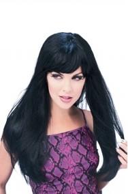 Parrucca donna nera lunga con frangia