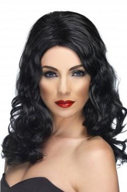 Parrucca donna nera lunga mossa