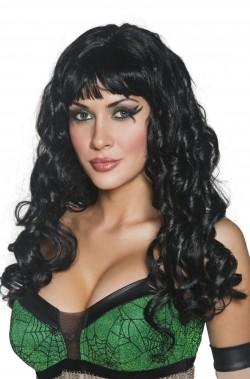 Parrucca donna nera lunga mossa con frangia