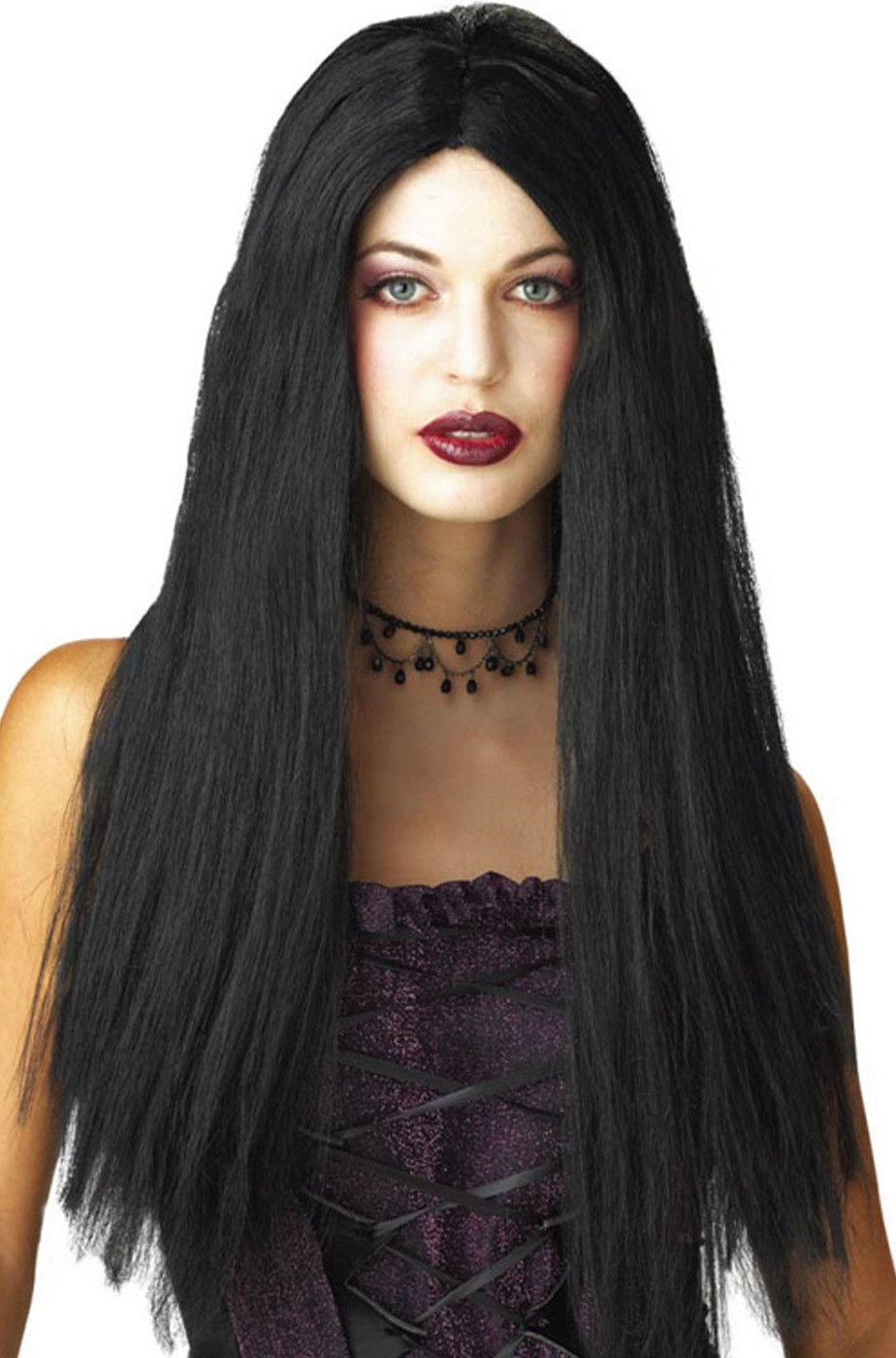 Parrucca donna nera lunga senza frangia, Morticia 61cm
