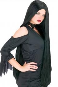 Parrucca donna nera lunga senza frangia, Morticia 91cm