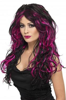 Parrucca donna nera rosa lunga