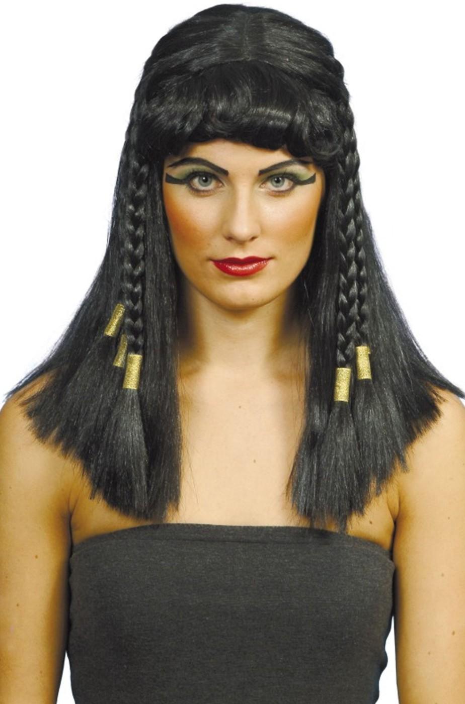 parrucca donna da egiziana Cleopatra nera lunga liscia con ...