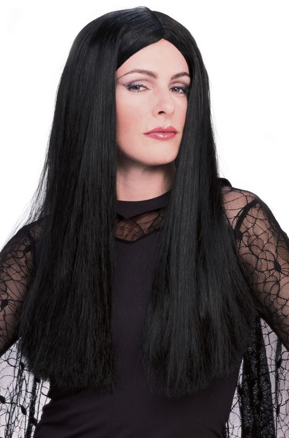 Parrucca nera liscia lunga da Morticia Addams originale