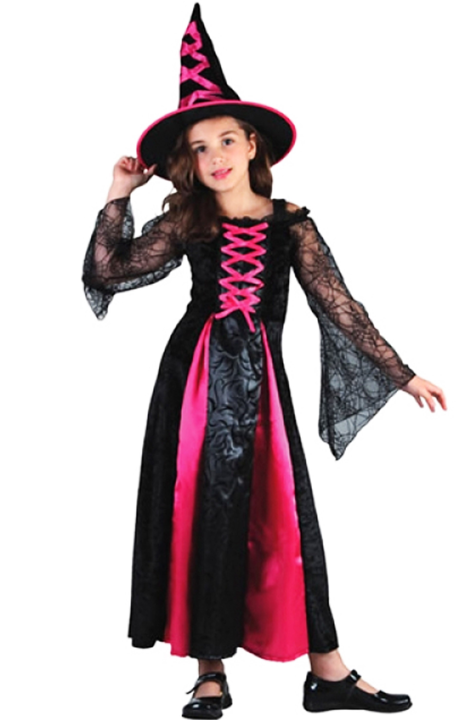 costume di Halloween bambina da strega lunga ed elegante rossa e nera 5f227ef87190