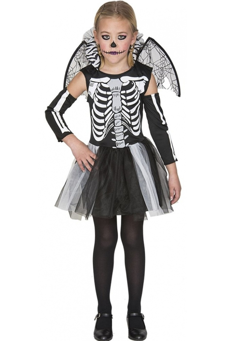 Costume per Halloween da bambina da scheletro