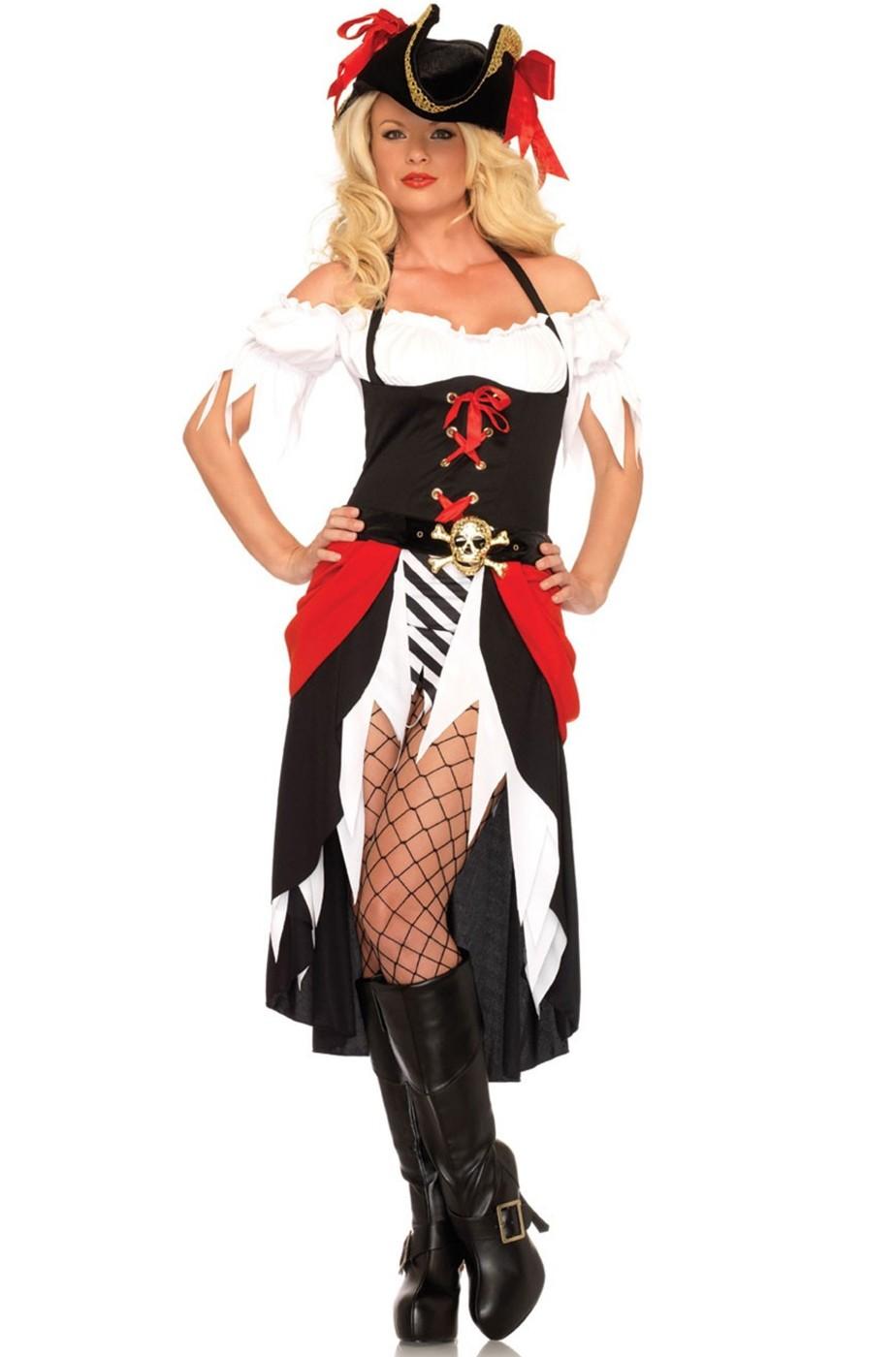 Costume donna pirata con gonna lunga e spacco