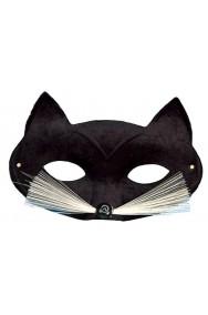 Maschera di carnevale da gatto nero con baffi