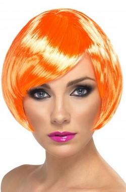 Parrucca donna arancione corta a caschetto zucca