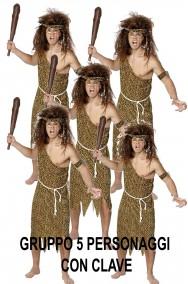 Gruppo di primitivi cavernicoli uomini o donne delle caverne