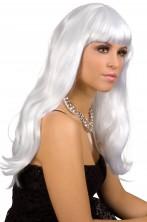 Parrucca donna lunga bianca liscia