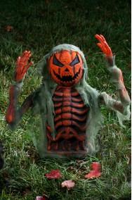 Decorazione Halloween da giardino:scheletro che esce dal terreno 38cm con braccia posizionabili nero